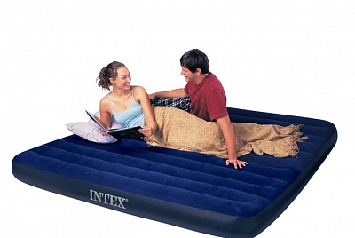 Надувной матрас Intex Classic Downy Airbed Fiber-Tech, 183х203х25см, 64755