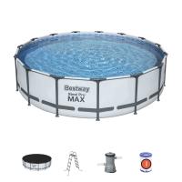 Каркасный бассейн Bestway 457х107 см с фильтром-насосом, тентом и лестницей 56488