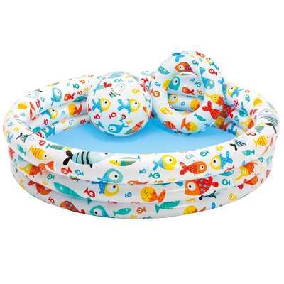 Детский бассейн Intex Аквариум 132*28 см с мячом и кругом. 59469